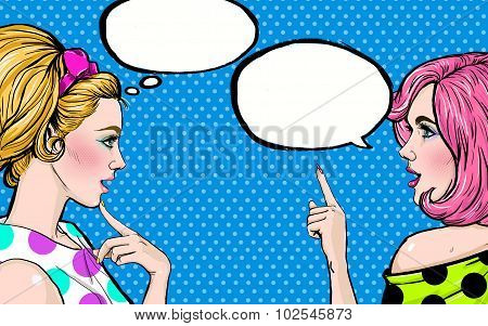 Pop Art girls with speech bubble. Party invitation. Birthday greeting card.
