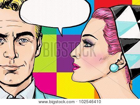 Love couple.Pop Art Couple.Pop Art love. Valentines day postcard. Hollywood movie scene. Love Pop Ar