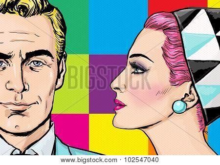 Love couple.Pop Art Couple.Pop Art love. Valentines day postcard. Hollywood movie scene.