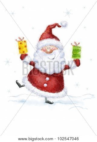 Santa Claus on snow background. Christmas greeting card. Happy New Year. Marry Christmas card.