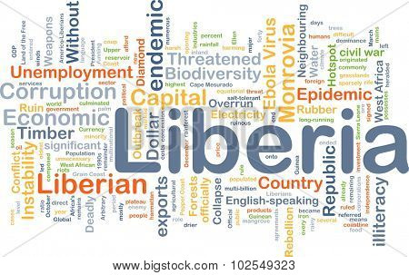 Background concept wordcloud illustration of Liberia