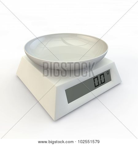 Kitchen Scales With Porcelain Cup
