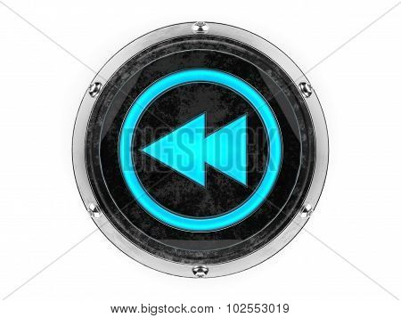 Glass and metal circle rewind symbol graphic element isolated on a white background.