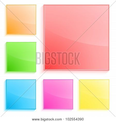 Plastic-squares-banner-isolated-white-background