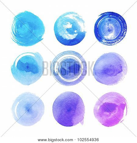watercolor spots in different shades of blue and pink
