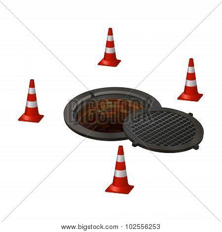 sewer, manhole, pit, hole