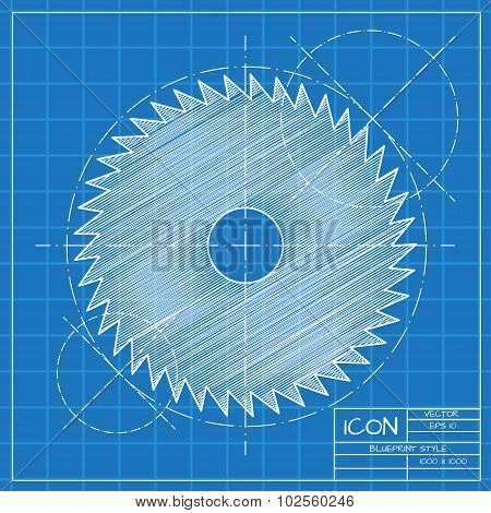 Vector blueprint circular saw icon on engineer or architect background. poster