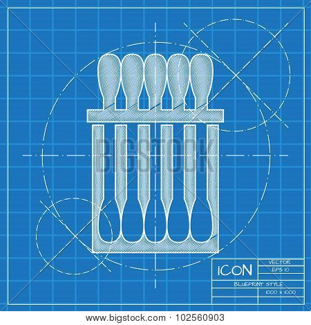 Vector blueprint cotton swabs icon on engineer or architect background. poster