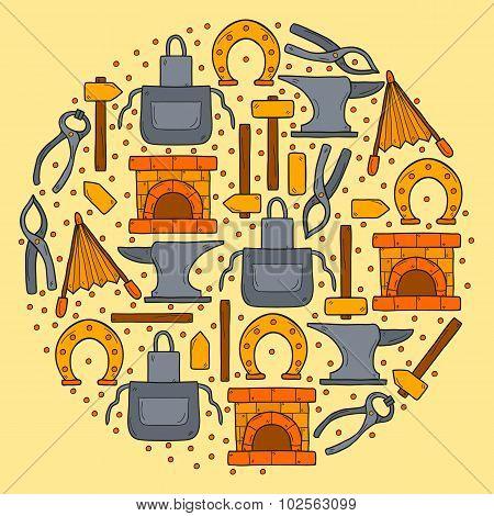 Vector background with hand drawn style objects in round shape on blacksmith theme: horseshoe, sledg