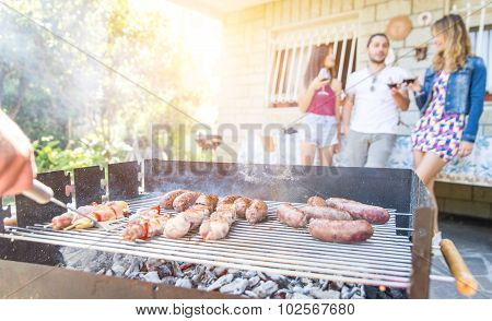 Group Of Friends Making A Barbecue In The Backyard Garden