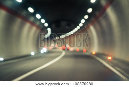 Blurred Concept About Transportation. Blurred Street Inside Tunnel