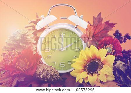 Autumn Fall Daylight Saving Time Clock Concept