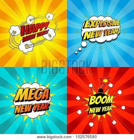 Set Of Pop Art Comic Happy New Year Vector Illustration
