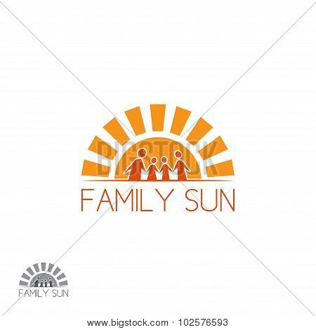 Happy family logo in the form of sun vector illustration