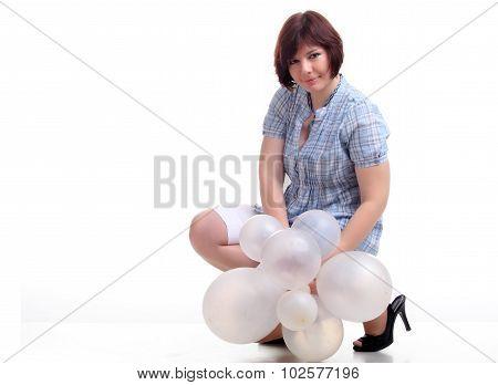Brunette Brunette Girl In Blue Chemise With White Balloons