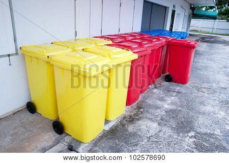 Blue Red Yellow Bins