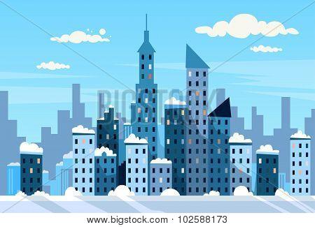 Winter City Skyscraper View Cityscape Snow Skyline