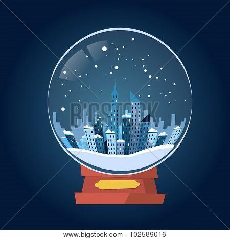 Wish Glass Ball Winter City View Snow
