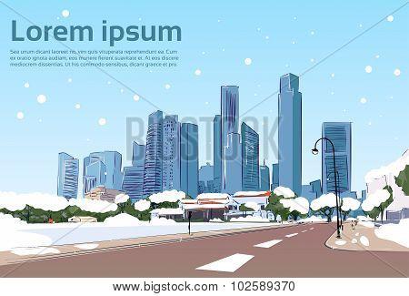Winter Road to Modern City View Snow Skyscraper Cityscape