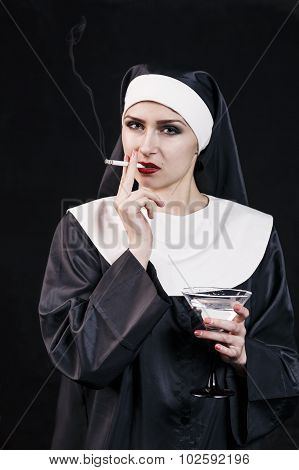 Smoking young nun