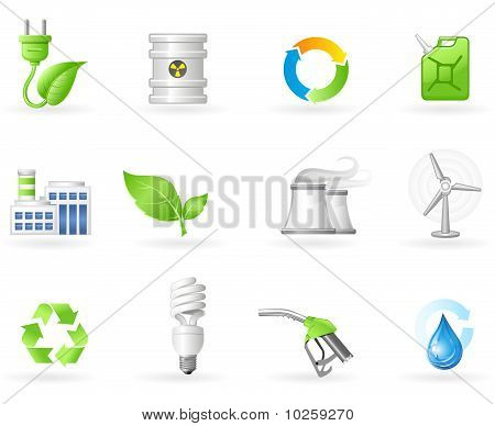 Air Pollution and Green Energy icon set