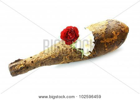 Vintage Rusted Aviation Bomb Shot Projectile Shell World War Ii Exploded With Flowers In Hole