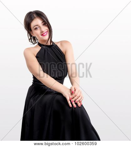 beautiful brunettewith black dress