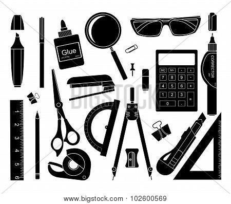 Stationery tools. Silhouettes