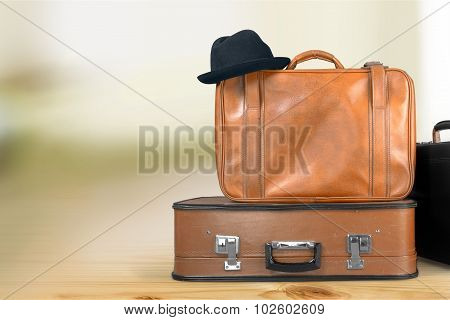 Suitcase Luggage Retro Revival Travel Old-fashioned Isolated Hatbox Journey poster