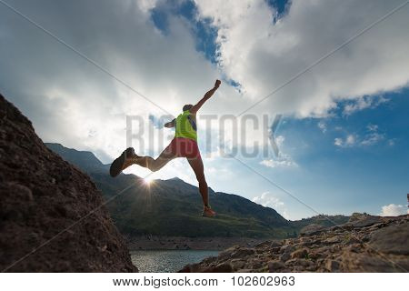Skipping Girl As He Runs In The Mountains