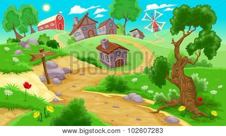 View on the countryside. Vector illustration