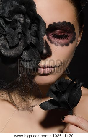 Portrait Of Beautiful Woman With Face Art And Flower