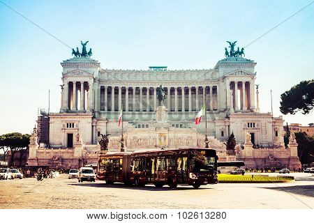 Rome, Italy - October 30: The Altar Of The Fatherland (altare Della Patria). Built In Honour Of Vict