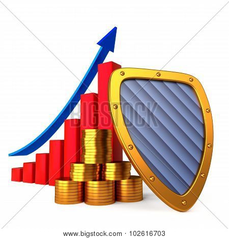 Coins chart and shield