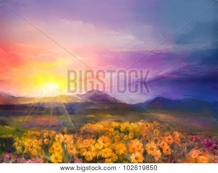 Oil Painting Yellow- Golden Daisy Flowers In Fields. Sunset Meadow Landscape With Wildflower