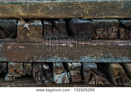 Wooden Railway Sleepers In A Pile