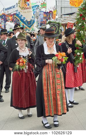 Traditional Dirndl Costumes At The Oktoberest