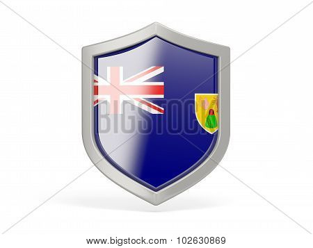 Shield icon with flag of turks and caicos islands isolated on white poster