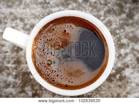 Fresh black coffee - close up