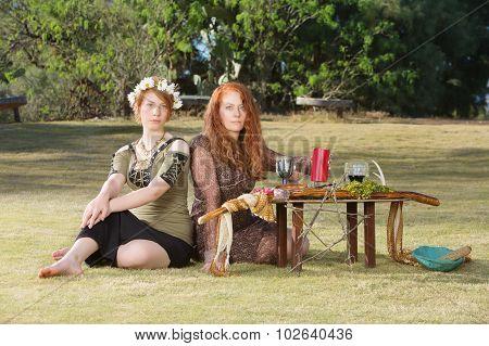 Two Serious Pagans At Altar