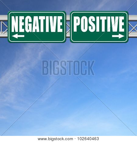positive or negative optimism or pessimism bright side of life positivity and no negativity sign poster