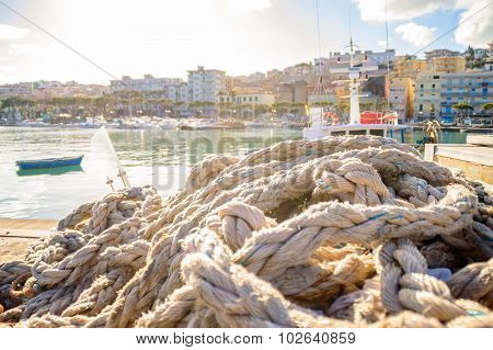 Old Worn Out Harbor Boat Ropes
