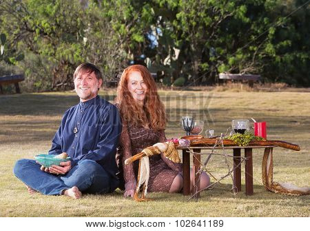 Happy Pagan Couple Outdoors