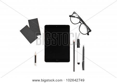 Branding Identity Mock Up For Graphic Designers On White Background Include Card, Glasses, Marker, P