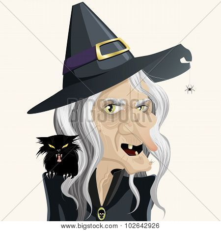 Dark ugly and bad witch full vector illustration poster