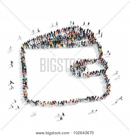 A group of people in the shape of a purse, cartoon, isolated, white background. poster