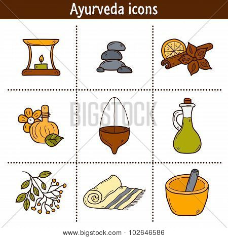 Set of cartoon ayurvedic icons in hand drawn style: herbs, stones, oil, spices, aromatherapy, towel. Auyrveda healthcare and treatment concept for your design poster