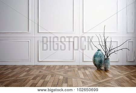 Classic stylish room interior decor with wooden wainscoting panelling, a decorative patterned parquet floor and minimalist vase and twig arrangement, copyspace for an interior design. 3d Rendering.
