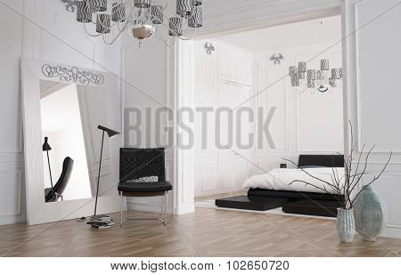 Minimalist spacious bedroom interior with large mirror standing against the wall reflecting the room and a double bed in a recessed alcove, chandelier and parquet floor. 3d rendering.