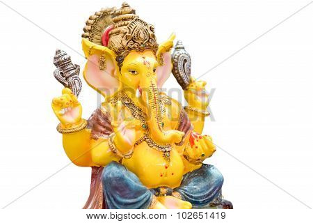 Yellow Rasin Ganesh Elephant Hindu God Statue Closeup Focused For Rich And Break The Obstacle In Lif